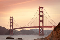 Golden Gate Bridge, San Francisco, CA at sunset Stock Photos