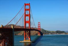 The Golden Gate Bridge. In San Francisco California, with blue sky on a sunny day stock image