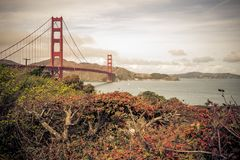 The Golden Gate Bridge in San Francisco California. During the daytime. The picture was taken from the shore overlooking the bay stock photography