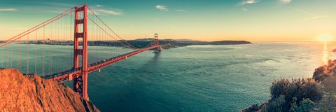 Golden Gate bridge, San Francisco California. Golden Gate bridge panorama after sunset, San Francisco California stock photos