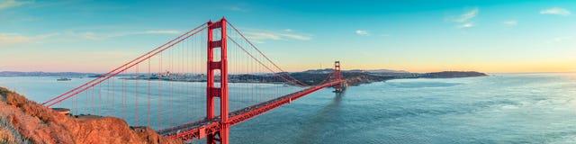 Golden Gate bridge, San Francisco California. Golden Gate bridge panorama after sunset, San Francisco California Stock Photo