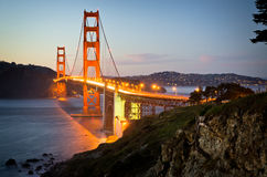 Golden Gate Bridge in San Francisco California after sunset Stock Image