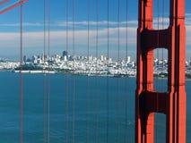 Golden Gate bridge. San Francisco. California. USA. View of the Golden Gate Bridge and the city of San Francisco taken from the hill stock photos