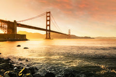 Golden Gate Bridge, San Francisco California USA. My eyes attracted by a shining golden misty ocean view of sunset when I was on vacation at Golden Gate Bridge Royalty Free Stock Photos