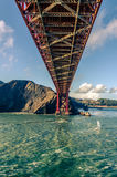 Golden Gate Bridge. In San Francisco, California The View from the water and the underside of the bridge stock image