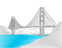 Golden Gate Bridge, San Francisco, Colored Sketch Stock Image