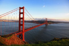 Golden Gate Bridge of San Francisco at evening Royalty Free Stock Photos