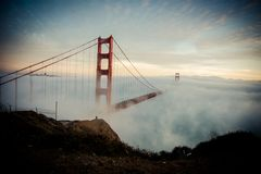 Golden Gate Bridge in San Francisco in the fog. This picture shows the Golden Gate Bridge in San Francisco in the fog royalty free stock images