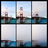 Golden Gate Bridge in San Francisco is getting covered with fog and/or cloud. The phases of the Golden Gate Bridge in San Francisco is getting covered with fog Royalty Free Stock Images