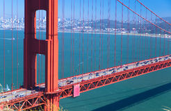Golden Gate Bridge, San Francisco. Lots of cars go through golden gate bridge stock images