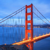 Golden Gate Bridge, San Francisco at night. Famous Golden Gate Bridge, San Francisco at night, USA Stock Photo