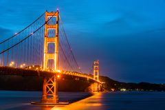 The Golden Gate Bridge in San Francisco at night stock image