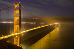 Golden Gate Bridge in San Francisco at Night Stock Images