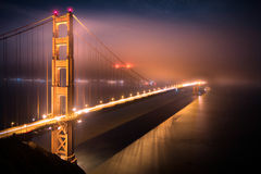 Golden Gate Bridge in San Francisco at Night Royalty Free Stock Image