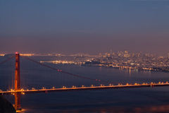 Golden Gate Bridge and San Francisco at Night Royalty Free Stock Photography