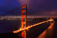 Golden Gate Bridge and San Francisco at night, USA Royalty Free Stock Photography
