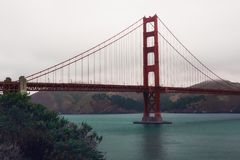The Golden Gate Bridge in San Francisco during an overcast day royalty free stock image