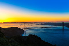 Golden gate bridge San Francisco soluppgång Kalifornien Royaltyfri Fotografi