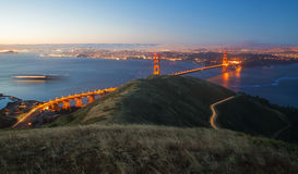 Golden Gate Bridge and San Francisco at sunrise. Blue Hour as seen from the Marin headlands Royalty Free Stock Photography