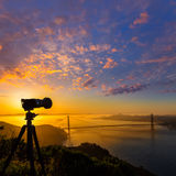 Golden Gate Bridge San Francisco sunrise California Stock Image