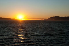 The Golden Gate Bridge in San Francisco during the sunset royalty free stock images