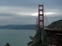 Golden Gate Bridge, San Francisco. Traffic across the Golden Gate Bridge in San Francisco Bay, California on overcast day stock photography