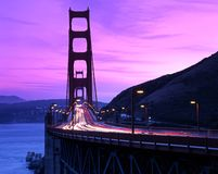 Golden Gate bridge, San Francisco, USA. Golden Gate Bridge at dusk against a pink sky, San Francisco, California, USA Royalty Free Stock Image
