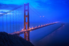 Golden Gate Bridge in San Fransisco at Blue Hour Royalty Free Stock Image