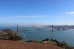 Golden Gate Bridge San Fransisco. Golden Gate Bridge overlooking San Fransisco clear blue sky day Stock Images