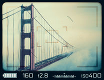 Golden Gate Bridge seen through camera viewfinder stock illustration