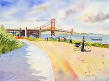 Golden gate bridge - sightseeing in San Francisco, USA. Family tourists tour enjoying the view at the famous travel landmark in California. watercolor painting Stock Photography