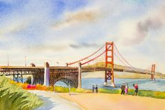 Golden gate bridge - sightseeing in San Francisco, USA. Family tourists tour enjoying the view at the famous travel landmark in California. watercolor painting Stock Photos