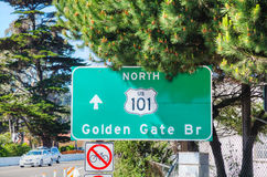 Golden Gate bridge sign in San Francisco Stock Images