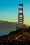 Golden Gate Bridge Silhouette. With Flowers - San Francsico, CA stock image