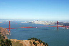 Golden Gate Bridge span. From a location known as Hawk Hill Stock Image