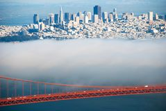 Golden Gate bridge span and cables on foggy day view from Marin royalty free stock photo
