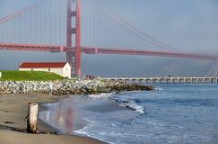 Golden gate bridge-strandmening, San Francisco, Californië stock foto
