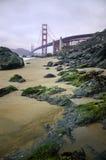 Golden gate bridge sulla spiaggia fotografia stock libera da diritti