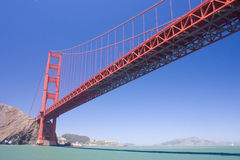 Golden Gate Bridge on a sunny day. View on Golden Gate bridge from Pacific ocean, California, USA royalty free stock photo