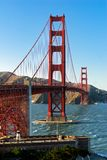 Golden gate bridge on sunny day with clear blue sky.  Royalty Free Stock Photography