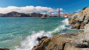 Golden Gate Bridge at sunny day. Seen from San Francisco beach, California Royalty Free Stock Photo