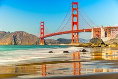 Golden Gate, San Francisco, California, USA. Golden Gate Bridge on a sunny day in San Francisco, California, USA Stock Photos