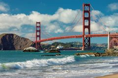 Golden Gate Bridge at sunny day from Baker Beach. Golden Gate Bridge at sunny day seen from San Francisco beach, California Royalty Free Stock Images