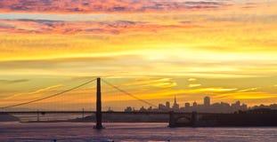 Golden Gate Bridge during sunrise. Colorful sky over Golden Gate Bridge during sunrise Stock Photos