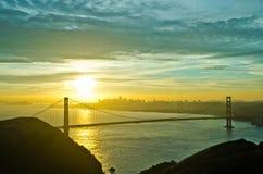 Golden Gate Bridge during sunrise. Colorful sky over Golden Gate Bridge during sunrise Royalty Free Stock Image