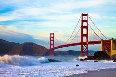 Golden Gate Bridge at Sunset. Seen from Marshall Beach, San Francisco Stock Image
