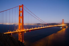 Golden Gate Bridge after sunset. Taken from Sausalito side of the bay Royalty Free Stock Image