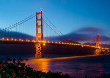 Golden Gate Bridge after sunset. Photograph taken from Marina Side of the bay - near Fort Point Stock Photography
