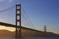 Golden Gate Bridge during sunset. With light fog Royalty Free Stock Photography