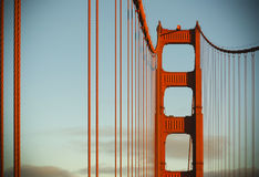 Golden Gate bridge at sunset. Beautiful Golden Gate bridge bathing in sunset rays royalty free stock image